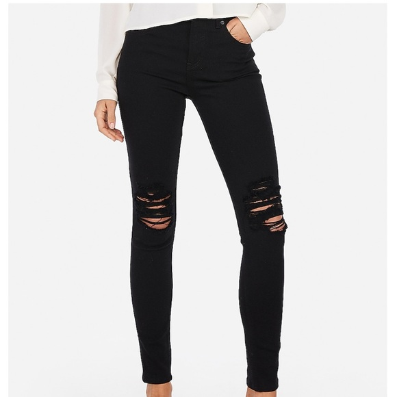 High Rise EXPRESS Distressed Jeans (8)